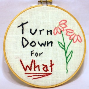 Turn Down for What | Rap Embroidery | Free Classes Spring 2015 at the Hudson River Museum in Yonkers, NY taught by textile artist Sarah Divi | SarahDivi.com