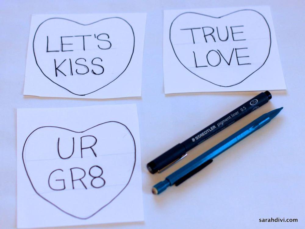Conversation Heart Embroidered Art | Valentine's Day Tutorial | sarahdivi.com