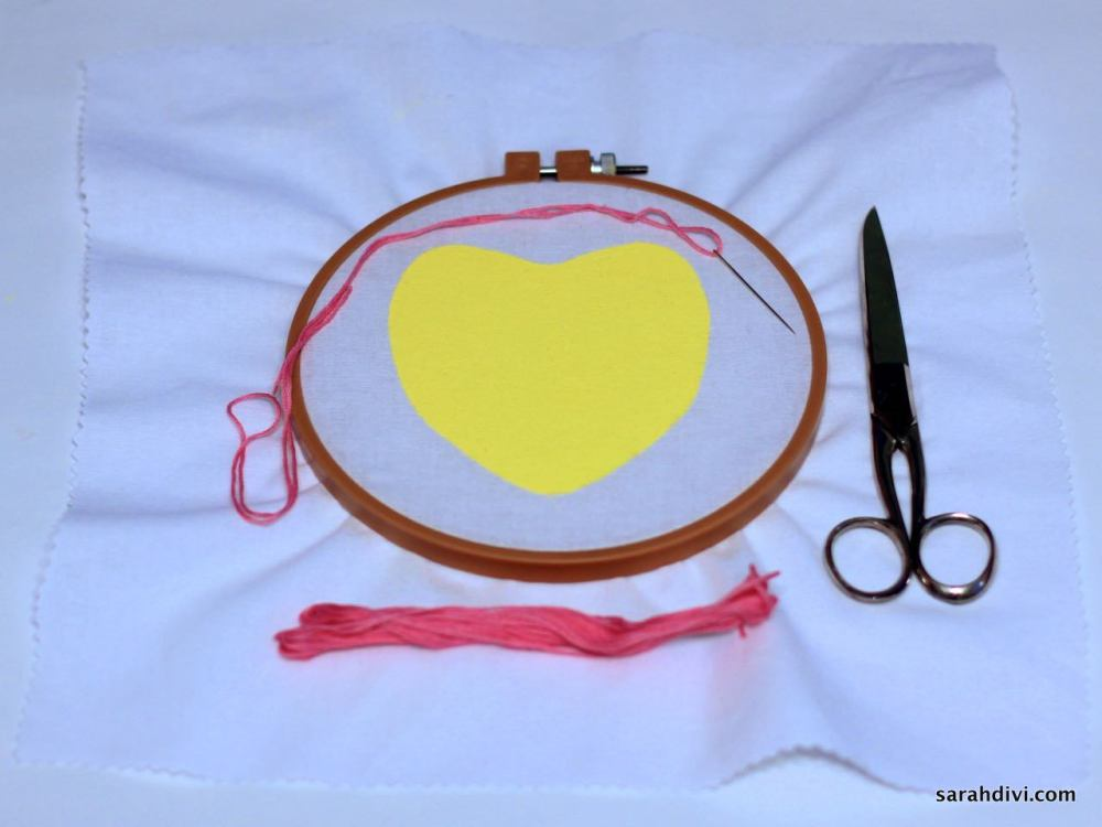 Conversation Heart Embroidered Art | Valentine's Day Tutorial | sarahdivi.com