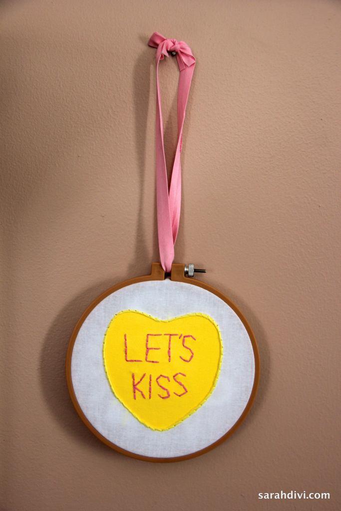 Candy Conversation Heart Embroidered Art | Valentine's Day Tutorial | sarahdivi.com