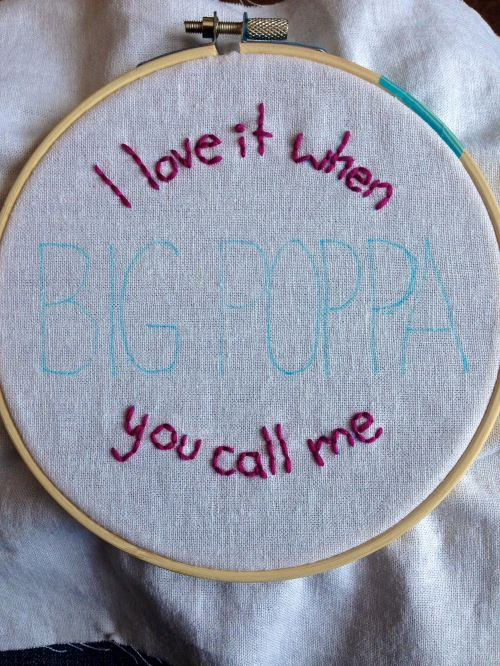 Stitch In Progress: Big Poppa - The Notorious B.I.G. | Rap Embroidery | Free Classes Spring 2015 at the Hudson River Museum in Yonkers, NY taught by textile artist Sarah Divi | SarahDivi.com