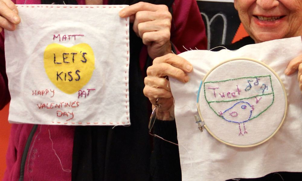 Rap and Candy Heart Embroidery | Free Classes Spring 2015 at the Hudson River Museum in Yonkers, NY taught by textile artist Sarah Divi | SarahDivi.com