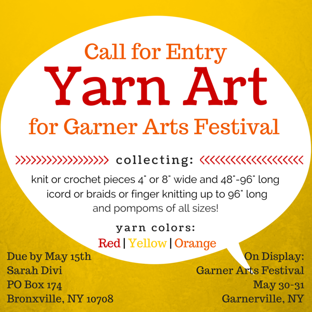 Yarn Art Call for Entry | Garner Arts Festival | SarahDivi.com